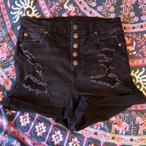 AE Curvy Super High Rise Shortie Black Shorts